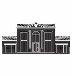 Classic facade house black fill vector