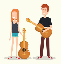 Couple musicians playing musical instruments vector