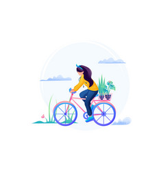 Courier girl delivers flowers on a bicycle fast vector