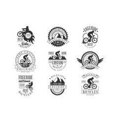 Custom made free ride bike shop black and white vector