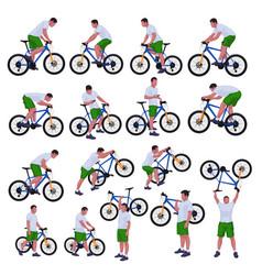 cyclist set 01 vector image