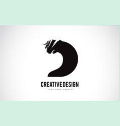 D letter logo design brush paint stroke artistic vector