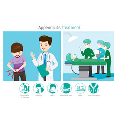 Doctor diagnose and operate on appendicitis vector