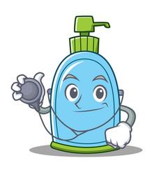doctor liquid soap character cartoon vector image