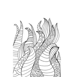 doodle fantasy waves abstract plant coloring page vector image