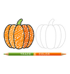 Dotted line and coloring crayon pumpkin vector