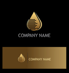 Droplet gold technology logo vector