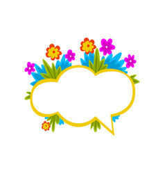 empty speech cloud decorated with colorful flowers vector image