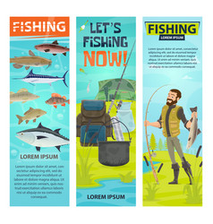 Fisherman and fishing equipement banners vector