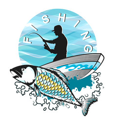 fisherman in a boat with fish vector image