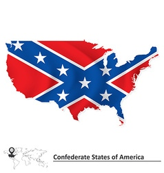 Flag of Confederate states of America with USA map vector image