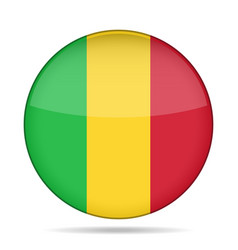 flag of mali shiny round button vector image