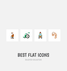 Flat icon disabled set audiology equipment vector