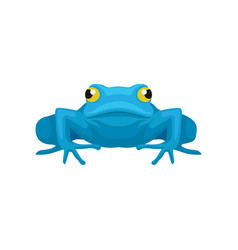 Flat icon of funny frog front view vector
