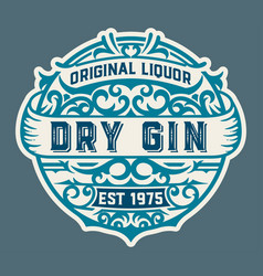 Gin logo with floral ornaments vector
