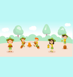 girl and boy scouts flat vector image