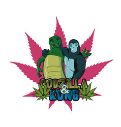 Gorilla and reptile for shirt vector