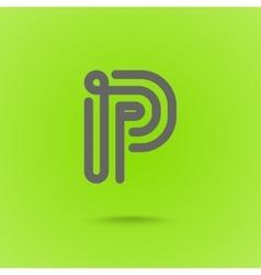 Graphic Line Font Logo Element Letter P vector image