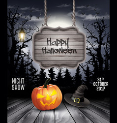 Halloween spooky background with wooden sign vector
