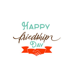 Happy friendship day typographic colorful vector