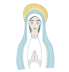 Holy mary icon isolated vector