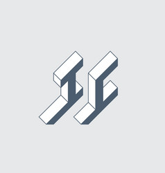 Ic - logo or 2-letter code isometric 3d font vector