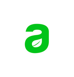 initial letter a with leaf logo vector image