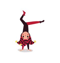 joker flat cartoon character standing upside down vector image