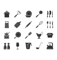 Kitchenware black silhouette icons set vector