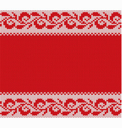 Knitted christmas floral ornament winter seamless vector