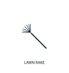 Lawn rake icon simple gardening element symbol vector