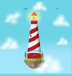 lighthouse float island cloud design vector image