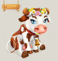 Little cow funny character 3d icon vector