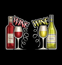 Logos for red and white wine vector