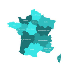 Map of france divided into 13 administrative vector