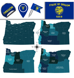 Map of oregon with regions vector