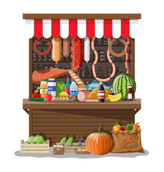 Market store interior with goods vector