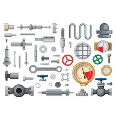 Mechanisms engineering spare parts cartoon vector