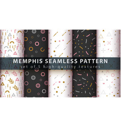 Memphis seamless pattern - set five items vector
