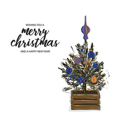 Merry christmas tree in wood crate decorated vector
