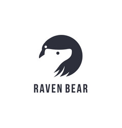 minimalist raven and bear logo icon template vector image