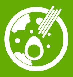 Miso soup icon green vector