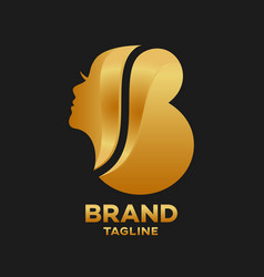 Modern beauty salon letter b logo vector
