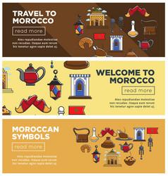 morocco travel symbols or tourism famous landmarks vector image