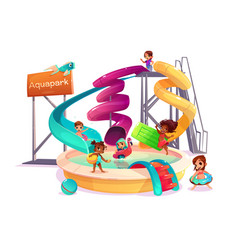 Multinational kids in water park cartoon vector