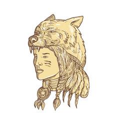 Native american woman wearing wolf headdress vector