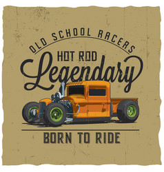 old school legendary racers poster vector image