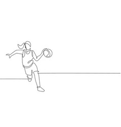 One continuous line drawing young basketball vector