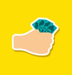 Paper sticker on stylish background money in hand vector