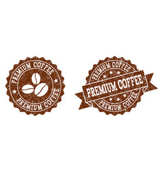 premium coffee stamp seals with grunge texture in vector image